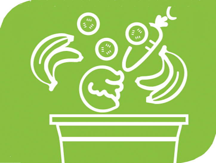 A graphic showing fruits and vegetables being thrown away.