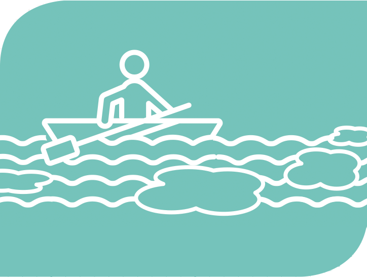 A graphic of a person rowing a canoe.