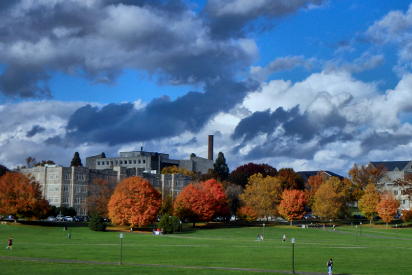 A photo of Virginia Tech's Drillfield on campus.