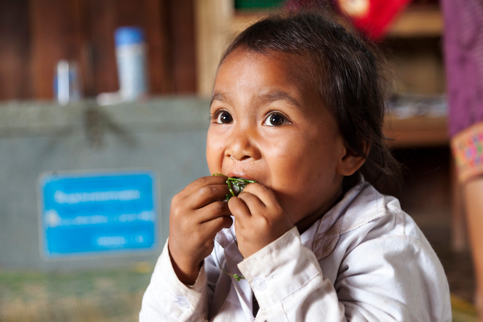 A child eating.