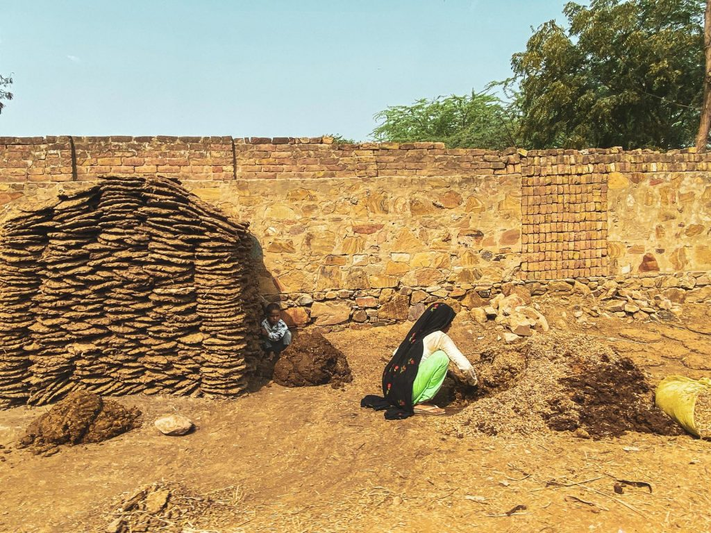 "A photo of a woman working to make dung ""cakes"" while a child watches from a stack nearby."