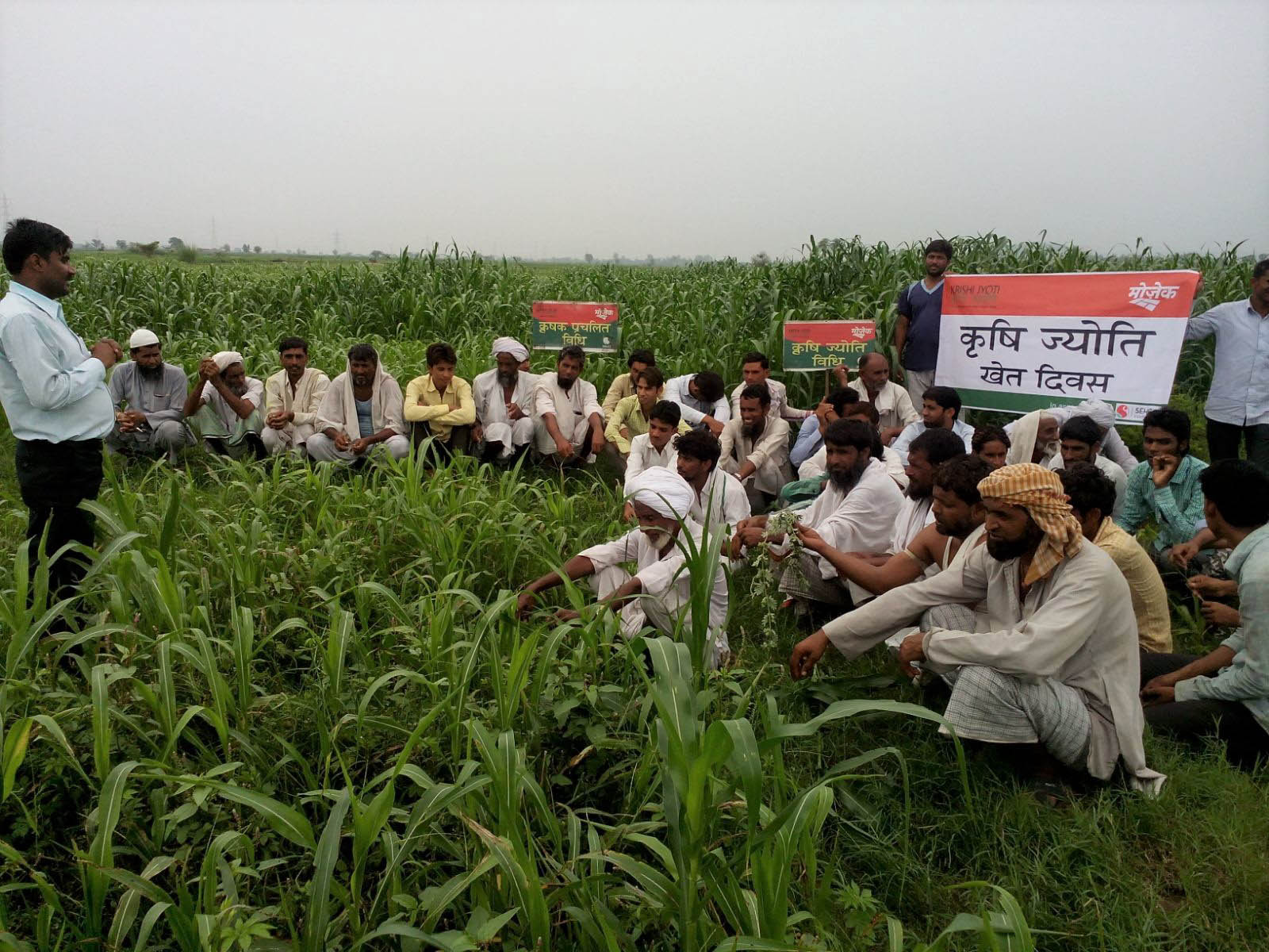 A group of farmers sit in a green field among signs.